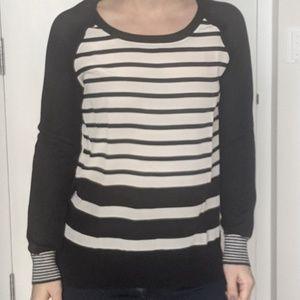 Striped black & white Joie mixed media sweater